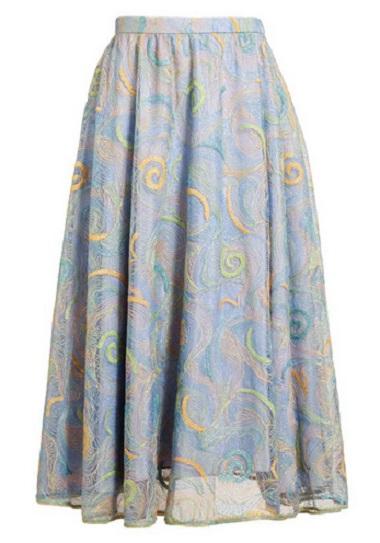 rodarte Embroidered Silk Skirt